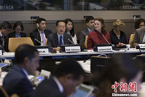 中国常驻联合国代表马朝旭大使出席研讨会并致辞。<a target='_blank' href='http://www.chinanews.com/'>中新社</a>记者 廖攀 摄