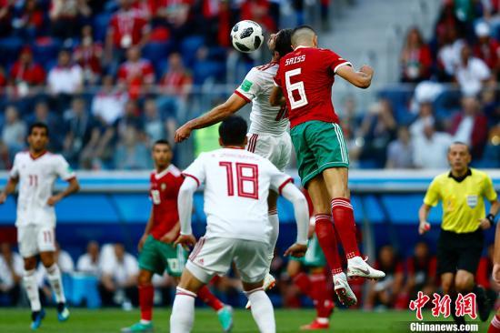 2018年俄罗斯世界杯B组首轮于6月15日晚在圣彼得堡体育场打响,摩洛哥对阵伊朗。<a target='_blank' href='http://www.chinanews.com/'>中新社</a>记者 富田 摄