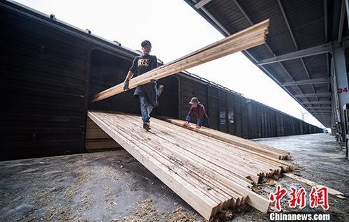 资料图:6月13日,拉萨西站货场装卸工人们正在搬运一批产自俄罗斯的木材。中新社记者 何蓬磊 摄
