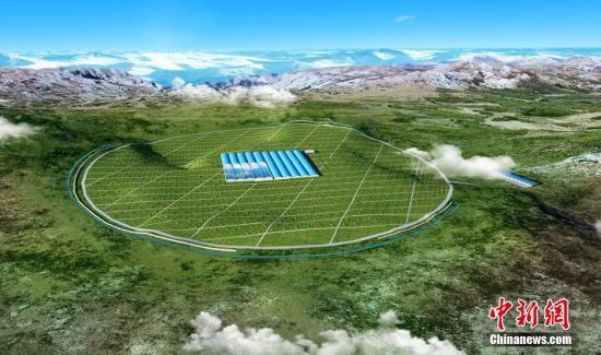 图为高海拔宇宙线观测站建设规划效果图。 中新社发 稻城宣供图 摄