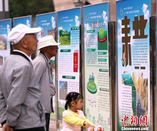 """6月25日是第28个全国""""土地日"""",青海国土部门组织人员进校园、进课堂、进企业、进农村、进社区,呼吁像保护大熊猫一样保护耕地,确保粮食安全。图为青海西宁民众在仔细阅读保护耕地展板。<a target='_blank' href='http://www-chinanews-com.meihuapx.com/'>中新社</a>记者 张添福 摄"""