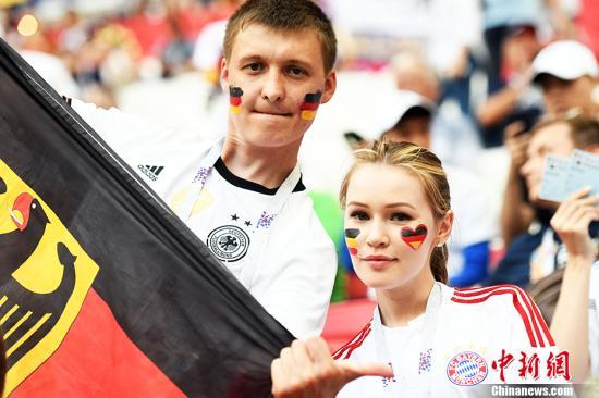 世界杯赛场上的德国球迷。 <a target='_blank' href='http://www.sray.cn/'>中新社</a>记者 田博川 摄