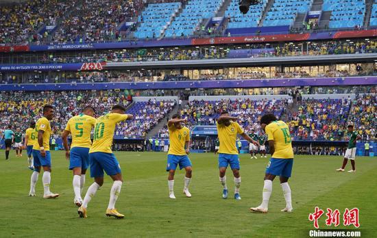 资料图:巴西2:0胜墨西哥晋级八强 。 中新社记者 毛建军 摄