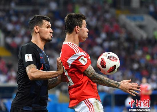 克罗地亚半决赛中他们将对阵英格兰队。 <a target='_blank' href='http://www.chinanews.com/'>中新社</a>记者 毛建军 摄