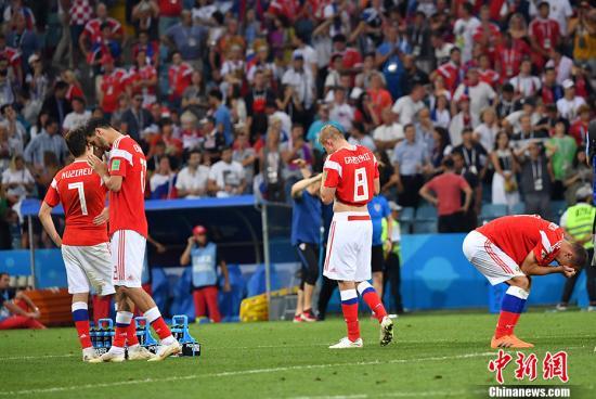 赛后,俄罗斯队员十分无奈。 <a target='_blank' href='http://www.chinanews.com/'>中新社</a>记者 毛建军 摄