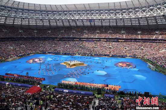 俄罗斯世界杯闭幕式现场精彩的表演。 <a target='_blank' href='http://www.chinanews.com/'>中新社</a>记者 毛建军 摄