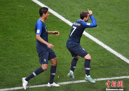 格列兹曼庆祝进球。 <a target='_blank' href='http://www.chinanews.com/'>中新社</a>记者 毛建军 摄