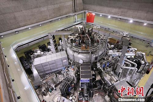 """图为中国版""""人造小太阳""""——全超导托卡马克核聚变实验装置(EAST)的全景图(资料图片)。中新社发 叶华龙 摄"""
