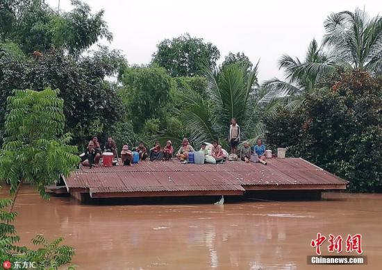 资料图:当地时间2018年7月24日,老挝阿速坡省(Attapeu),该省一座水电站大坝发生坍塌,造成多个村庄被淹,至少5人死亡,另有数百人失踪。图片来源:东方IC 版权作品 请勿转载
