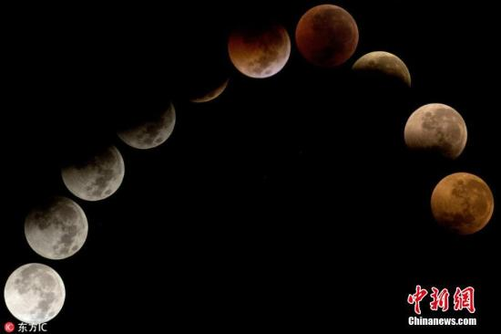 """""""血月""""与火星大冲""""同框""""全球多地赏美景图"""
