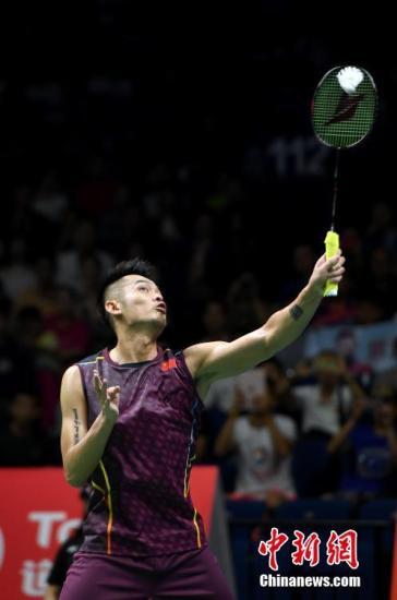 资料图:林丹在比赛中。<a target='_blank' href='http://www.chinanews.com/'>中新社</a>记者 侯宇 摄