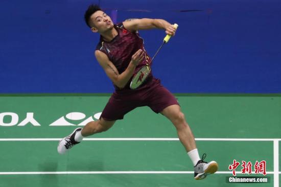 林丹在比赛中。<a target='_blank' href='http://www.chinanews.com/'>中新社</a>记者 泱波 摄