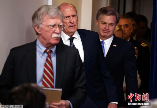 与科茨一同现身记者会的还有美国总统国家安全事务助理约翰・博尔顿、国土安全部长克尔斯滕・尼尔森、联邦调查局(FBI)局长克里斯托弗・雷以及国家安全局长保罗・中曾根等人。他们分别从各自部门的角度介绍了加强选举安全工作的进展。