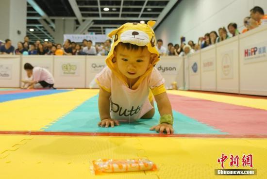 8月4日,百名婴儿在香港会展中心参加第30届全港婴儿慈善马拉松爬行大赛。家长们使出浑身解数,以零食、水果、玩具、手机、IPAD、钥匙串等物品为诱饵,不断呼喊着宝宝的乳名,吸引宝宝向终点爬去。天真可爱的宝宝在参赛过程中笑料百出,妙趣横生。 中新社记者 张炜 摄