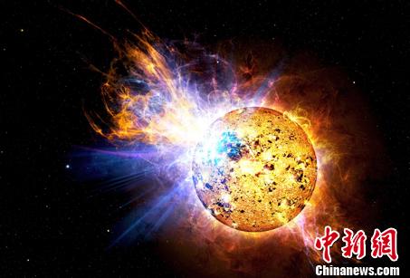 图为超级耀斑效果图。 中科院国家天文台 摄