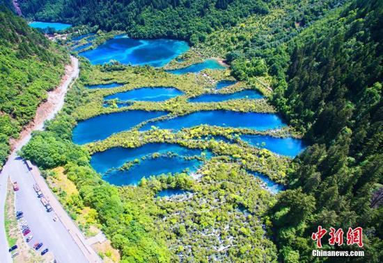Quake-hit Jiuzhaigou National Park in 2018. (File photo/ China News Service)