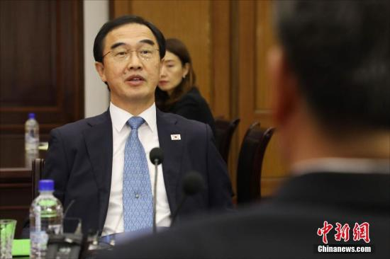 资料图:韩国统一部长官赵明均。 (联合采访团供图)