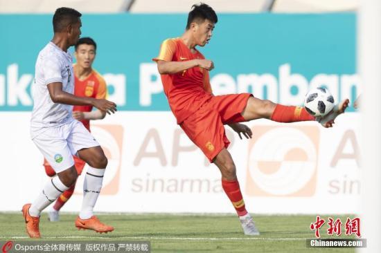 资料图:中国U23男子足球队在比赛中。 图片来源:Osports全体育图片社