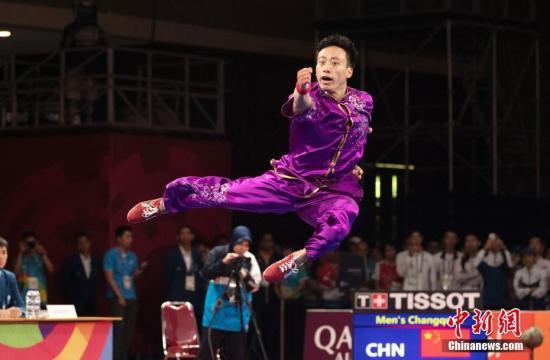 图为孙培原为中国代表团摘下2018雅加达亚运会首金。 <a target='_blank' href='http://www.chinanews.com/'>中新社</a>记者 刘关关 摄