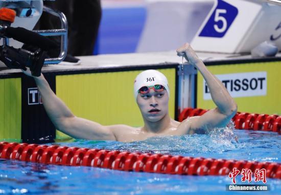 孙杨获得亚运会200米自由泳项目的金牌,实现全满贯。 <a target='_blank' href='http://www.chinanews.com/'>中新社</a>记者 杜洋 摄