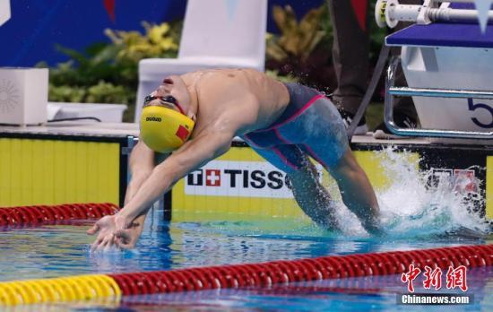 8月20日,2018雅加达亚运会游泳项目男子50米仰泳,徐嘉余以24秒75摘得金牌。<a target='_blank' href='http://www.chinanews.com/'>中新社</a>记者 杜洋 摄