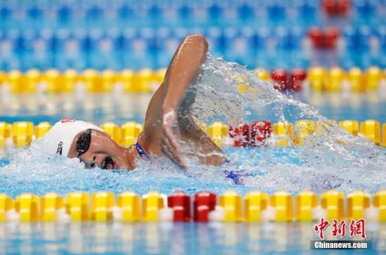 内地时间8月23日,在第18届亚运会女子800米自由泳决赛中,中国选手王简嘉禾得到冠军。 中新网记者 刘关关 摄
