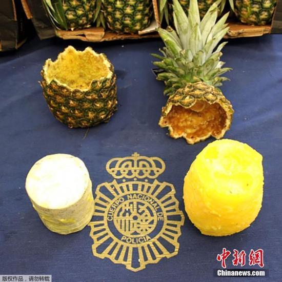 资料图:此前,西班牙马德里警方也曾在菠萝中查获67公斤可卡因。