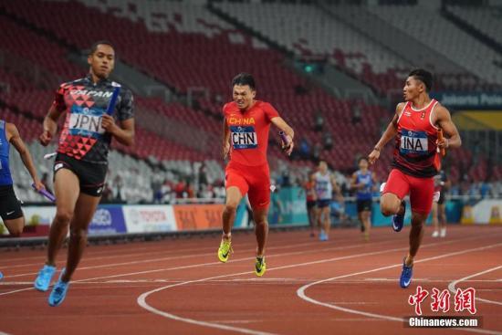 资料图:目前来看,日本男子4*100米接力整体实力仍旧领衔中国队。中新社记者 侯宇 摄