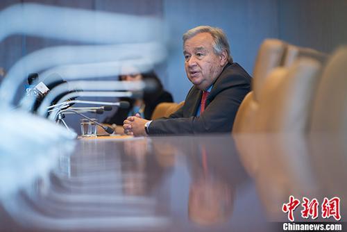 当地时间8月30日,联合国秘书长古特雷斯在纽约联合国总部接受中国媒体联合采访。古特雷斯将于9月1日前往中国进行访问,并出席中非合作论坛北京峰会。 <a target='_blank' href='http://www-chinanews-com.miaowang303.com/'>中新社</a>记者 廖攀 摄