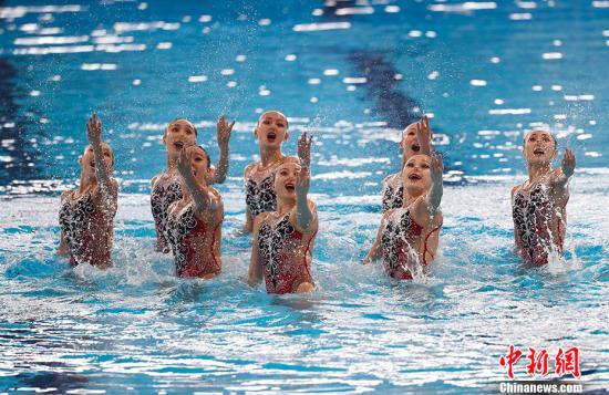 中国花样游泳队在比赛中。(资料图)中新社记者 杜洋 摄