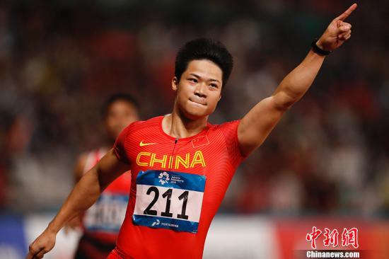田径男子百米冠军:苏炳添。<a target='_blank' href='http://mojg.cn/'>中新社</a>记者 杜洋 摄