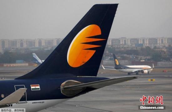 资料图:印度捷特航空的一架飞机。