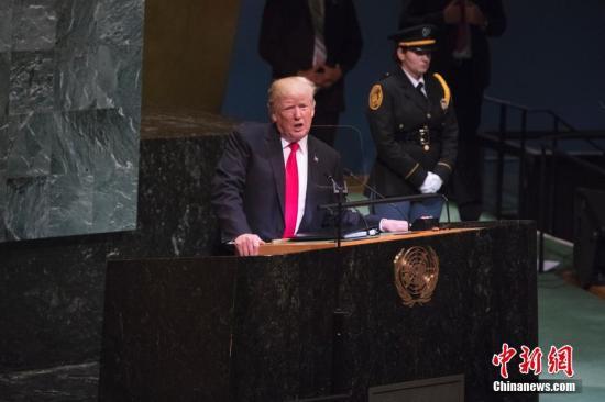 当地时间9月25日,第73届联合国大会一般性辩论在纽约联合国总部开幕。美国总统特朗普在会上发言。 中新社记者 廖攀 摄