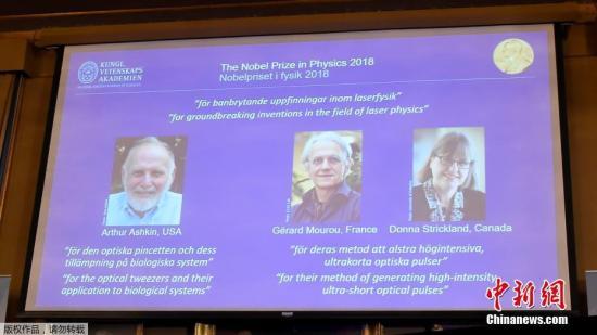 2018年诺贝尔物理学奖授予来自美国、法国、加拿大的三位科学家。