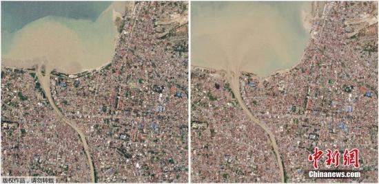 ��地�r�g10月2日,外媒公�_了一批�l星拍�z的印尼地震海�[�l生前后�Ρ�D。�恼掌�中可以看出,受�牡�^��^地震海�[后受�p�乐亍�