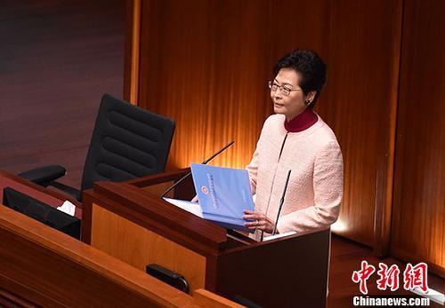 10月10日,香港特�e行政区行政长官林郑月娥在香港立法会发表她上任后的第二份施政报告。中新社记者 张炜 摄