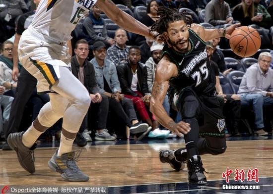 资料图:北京时间11月1日,NBA常规赛,罗斯拿下50分创生涯新高,帮助森林狼主场以128-125力克爵士。图片来源:Osports全体育图片社