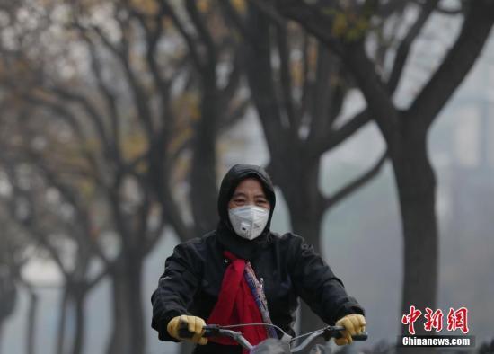 北京市民在雾霾中出行。<a target='_blank' href='http://www.chinanews.com/'>中新社</a>记者 刘关关 摄