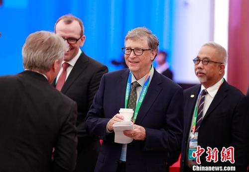 11月5日,首届中国国际进口博览会开幕式在上海国家会展中心举行。图为微软公司创始人比尔・盖茨出席开幕式。<a target='_blank' href='http://www-chinanews-com.pandasaga.com/'>中新社</a>记者 杜洋 摄