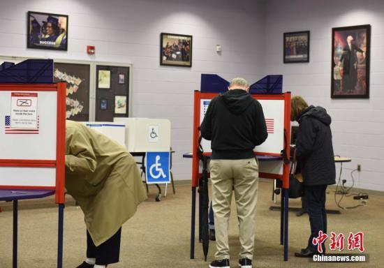 当地时间11月6日,美国举行2018年中期选举。图为选民在弗吉尼亚州一处投票点投票。中新社记者 邓敏 摄