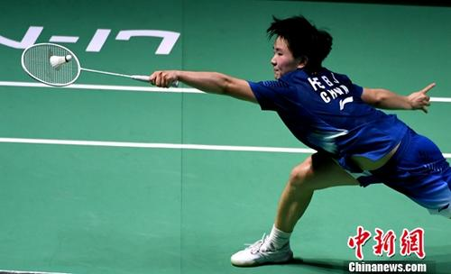 资料图:何冰娇在比赛中。中新社记者 王东明 摄