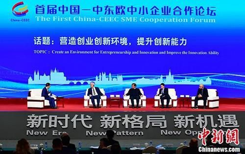 """11月12日,由中国工业和信息化部、河北省人民政府主办的首届中国-中东欧中小企业合作论坛在沧州渤海新区中捷产业园区举行。图为参会的中外嘉宾以主题为""""营造创业创新环境,提升创新能力""""话题进行讨论。<a target='_blank' href='http://www.chinanews.com/'>中新社</a>记者 翟羽佳 摄"""