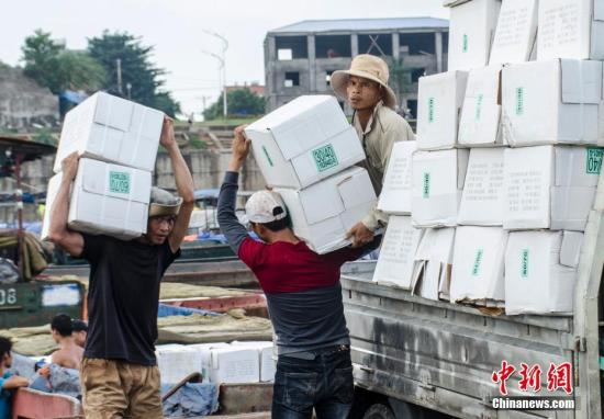 工人在装载进口货物。 翟李强 摄