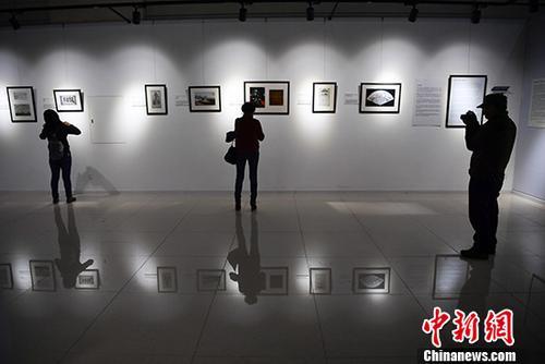 """11月16日,""""通向和谐之路:美中交往史,1784-1979""""图片展在昆明市博物馆拉开帷幕。展厅里,70余张珍贵的历史照片展现了十八世纪晚期至二十世纪晚期近200年间中美在商贸、教育、文化等方面的交流往来,追溯两国交往历史。图为观众观展。 中新社记者 刘冉阳 摄"""