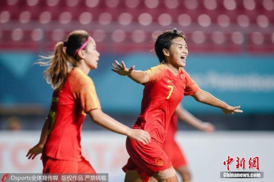 资料图:2018年8月25日,2018年雅加达亚运会女足决赛,中国5:0胜泰国,王霜上演帽子戏法。图片来源:Osports全体育图片社