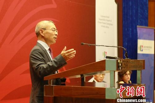 图为南非中国经贸协会会长张进国发表讲话。中新社记者 王曦 摄