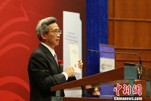 图为中国驻南非大使林松添发表讲话。中新社记者 王曦 摄