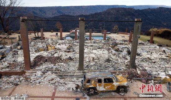 资料图:航拍被山火摧毁后的美加州天堂镇。