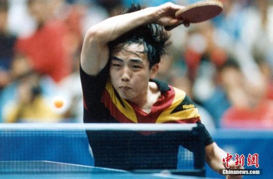 资料图:球员时期的刘国梁在比赛中。<a target='_blank' href='http://www.chinanews.com/'>中新社</a>记者 毛建军 摄