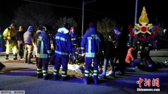 资料图片:意大利东海岸安科纳附近一家夜总会发生踩踏事故,造成6人死亡,100人受伤。
